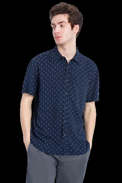 Сорочка чоловіча з коротким рукавом Finn Flare темно-синя S18-42016-101