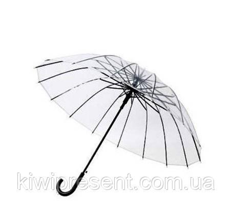 Зонт трость прозрачный (14 спиц) без принта Полуавтомат