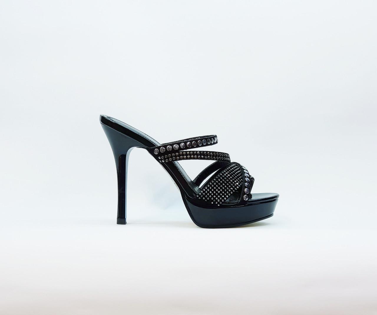 Сабо женские летние на высоком каблуке искусственная лаковая кожа черные