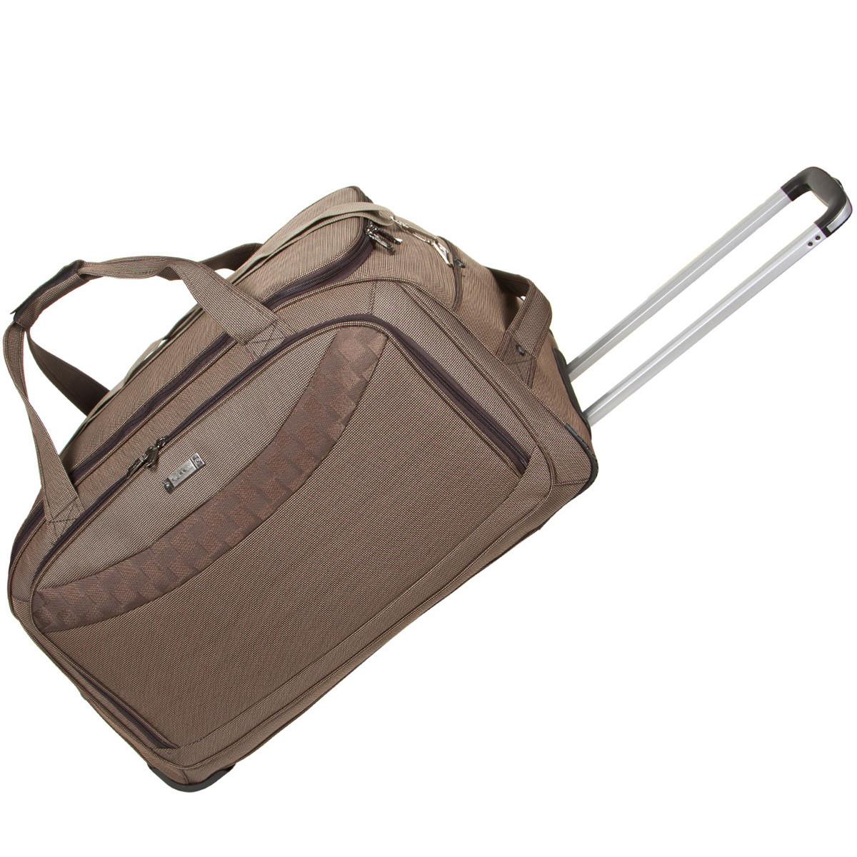 Дорожная сумка FILIPPINI большая 68х38х40 три колеса выдвижная ручка формованная коричневая  ксТ0046-1корб