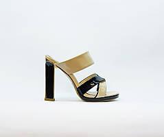 Сабо женские летние черный+коричневый на высоком каблуке искусственная лаковая кожа