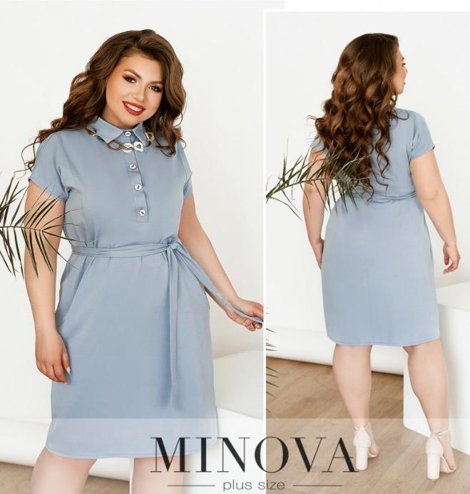 Удобное минималистичное повседневное платье батал цвет серый Размеры: 52.54.56.58.