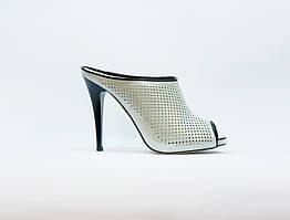 Сабо женские летние серебристые натуральная кожа на высоком каблуке