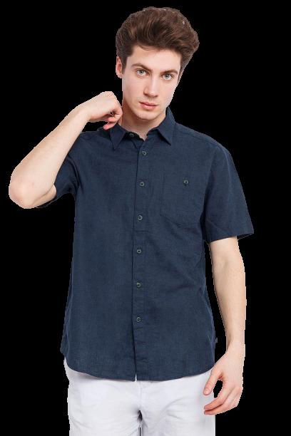 Сорочка чоловіча з коротким рукавом Finn Flare темно-синя S18-24018-101