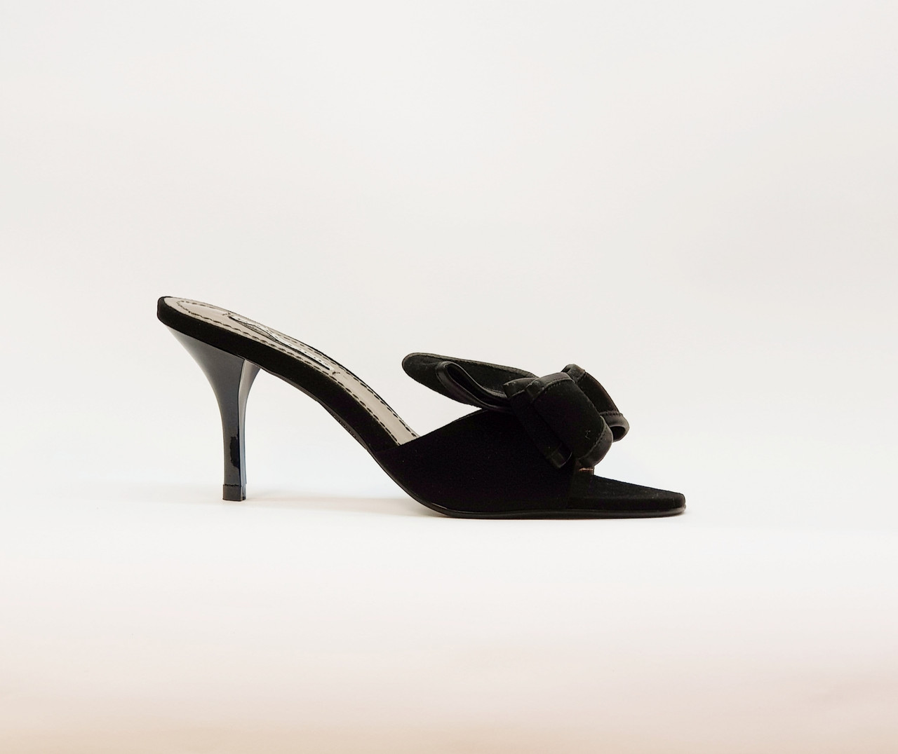 Сабо женские летние черные натуральная замша на среднем каблуке