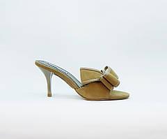 Сабо женские летние бежевые замшевые натуральная замша на среднем каблуке