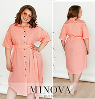 Платье-рубашка украшенное кружевом батал цвет персиковый Размеры: 48-50. 52-54. 56-58. 60-62. 64-66