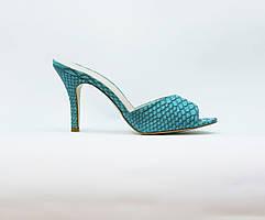 Сабо женские летние голубые на среднем каблуке искусственная кожа