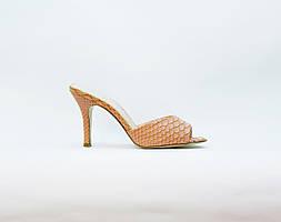 Сабо женские летние розовые на среднем каблуке искусственная кожа