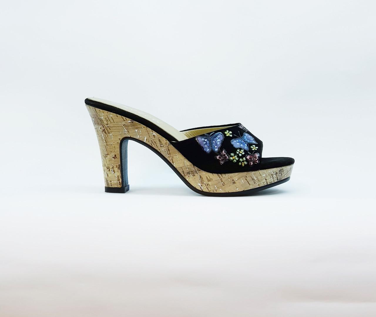Сабо женские летние натуральная кожа на среднем каблуке и платформе черные