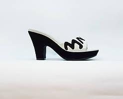 Сабо женские летние белые натуральная кожа на среднем каблуке и платформе 36