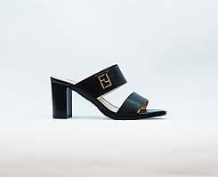 Сабо женские летние черные натуральная кожа на высоком каблуке