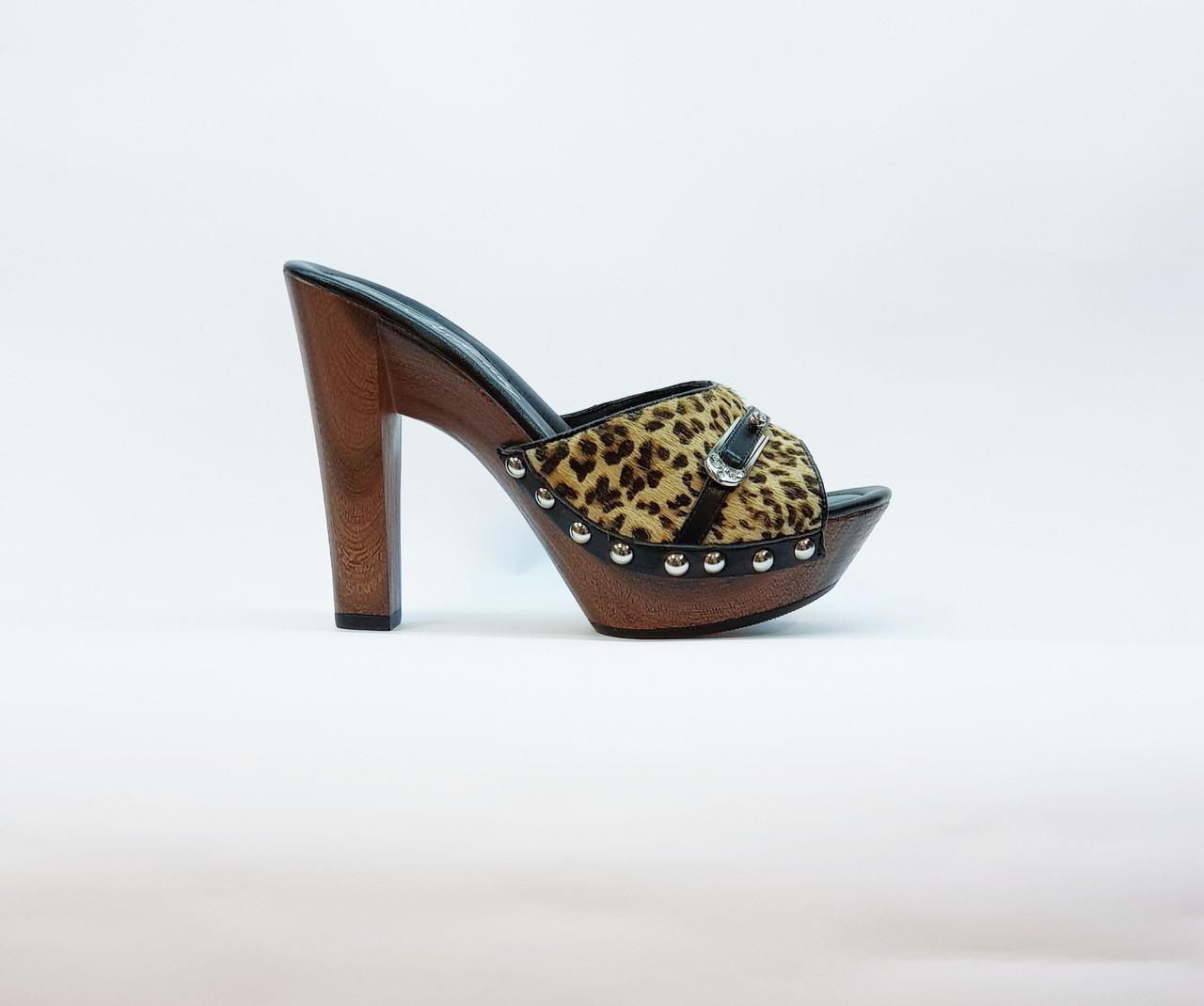 Сабо женские летние Berk бежевые леопардовые натуральная кожа на высоком каблуке и платформе