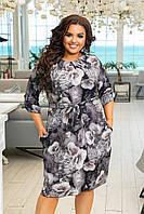 Женский сарафан летнее нежное платье с принтом до колен размер: 48-50,52-54,56-58,60-62