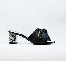 Сабо женские летние черные натуральная кожа на среднем каблуке