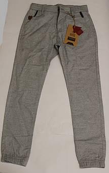 Котоновые брюки на мальчика светло - серые на манжете Размер 140 см, 146 см