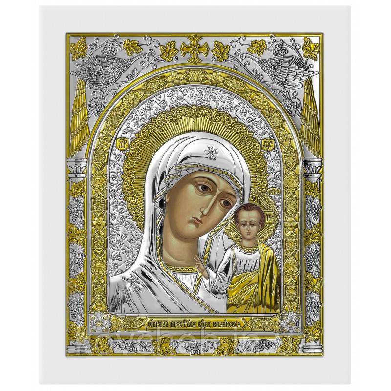 Ікона Казанська Богородиця Грецька Розмір-10x12 Срібна-925 Иконы Серебро Греция Лик