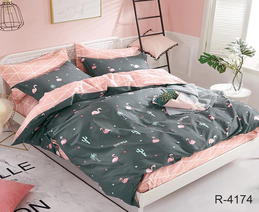 Евро комплект постельного белья - ренфорс с компаньоном R4174