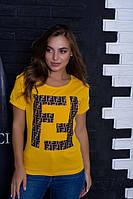 """Коттоновая женская футболка с оригинальным рукавом с разрезами """"Мэйси"""""""