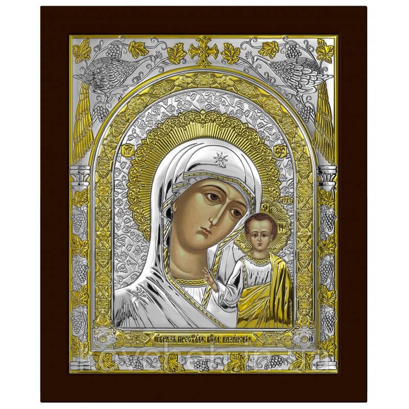 Ікона Казанська Богородиця Грецька Розмір-20,5x24,5 Срібна-925 Иконы Серебро Греция Лик