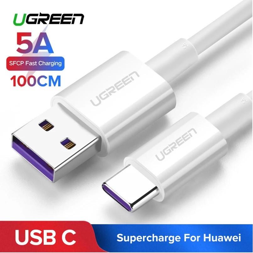 Оригінальний кабель UGREEN Type-C Super Charge 5A швидка зарядка 5A TPE White