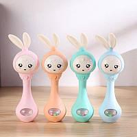 Детская погремушка милый Кролик для детей музыкальный с подсветкой мягкий