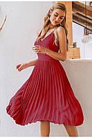 Літнє жіноче плаття пліссе на бретелях бордо розміри S-XL