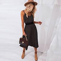Літнє жіноче плаття пліссе на бретелях чорне розмір XL
