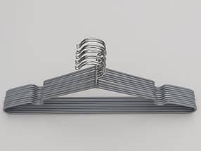 Плечики  тремпеля металлический в силиконовом покрытии серебристого цвета, длина 40 см, в упаковке 10 штук, фото 2