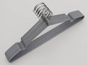 Плечики  тремпеля металлический в силиконовом покрытии серебристого цвета, длина 40 см, в упаковке 10 штук, фото 3