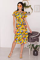 Яркое льняное платье с тропическим принтом. (2 расцветки)