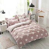 Комплект постельного белья Белое сердце с простынью на резинке (двуспальный-евро)