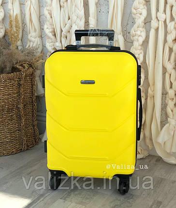 Желтый пластиковый чемодан ручная кладь, фото 2