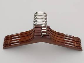 Плечики длиной 38,5 см. Деревянные коричневого цвета с антискользящей силиконовой резинкой, в упаковке 5 штук, фото 2
