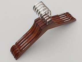 Плічка довжиною 38,5 см. Дерев'яні коричневого кольору з антиковзною силіконовою резинкою, в упаковці 5 штук, фото 3