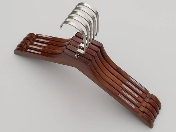Плічка довжиною 38,5 см. Дерев'яні коричневого кольору з антиковзною силіконовою резинкою, в упаковці 5 штук, фото 2