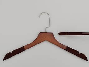 Плечики длиной 38,5 см. Деревянные коричневого цвета с флокированным покрытием, в упаковке 5 штук, фото 2