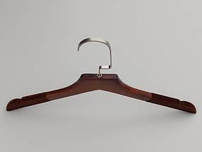 Плечики длиной 38,5 см. Деревянные коричневого цвета с флокированным покрытием, в упаковке 5 штук, фото 3