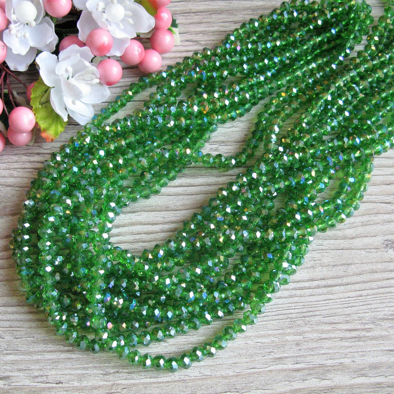 """""""Рондель"""" бусины 6 на 4 мм, прозрачные зеленые, 95 шт. - 22 грн"""