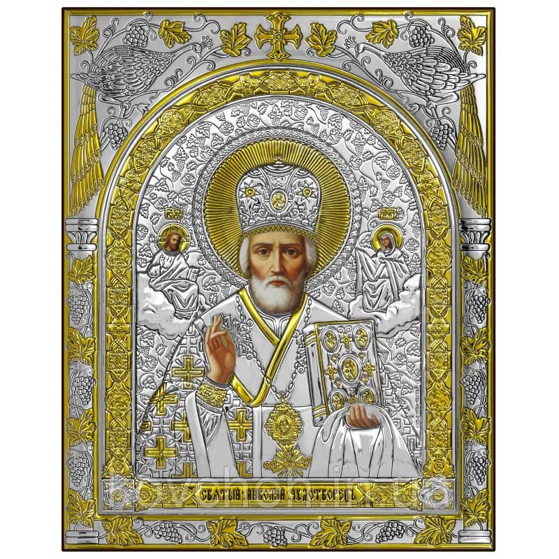 Ікона Святий Миколай Грецька Розмір-8x10 Срібна-925 Иконы Серебро Греция Лик
