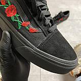 🔥 Кроссовки Vans Old Skool Black ART Rose Ванс Олд Скул Черный 🔥 Вэнсы Олд Скул 🔥 Ванс женские кроссовки🔥, фото 4