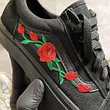 🔥 Кроссовки Vans Old Skool Black ART Rose Ванс Олд Скул Черный 🔥 Вэнсы Олд Скул 🔥 Ванс женские кроссовки🔥, фото 9