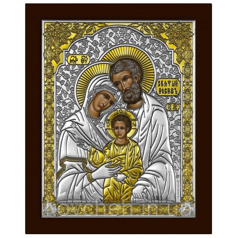Ікона Святиа Родина Грецька Розмір-8,6x10,5 Срібна-925  Иконы Серебро Греция Лик