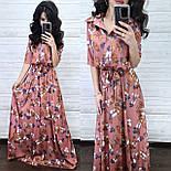 Сукня-сорочка в підлогу шовкове з квітковим принтом (в кольорах), фото 3