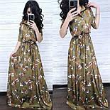 Сукня-сорочка в підлогу шовкове з квітковим принтом (в кольорах), фото 6