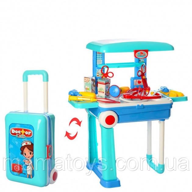 Игровой набор Доктора 008-925 Чемодан на колесах 2 в 1, медицинские инструменты, столик 53-24,5-63 см