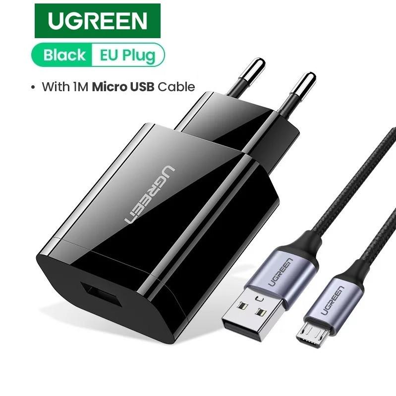 Зарядное устройство UGREEN CD122 18 вт Black QC Qualcomm 3.0 + оригинальный кабель UGREEN MicroUSB