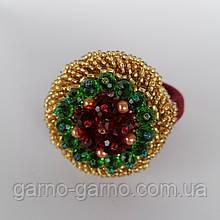 Гумка для волосся з кришталевими намистинами бісером, стразами і кристалами намистинами золото з червоним і зеленим