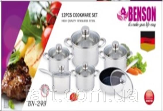 Набор посуды из нержавеющей стали Benson BN-249 (12 пр.)