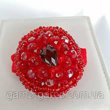 Гумка для волосся з кришталевими намистинами бісером, перлами та стразами Червоний